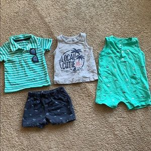Carters 9 month boy clothes lot (tropical themed)